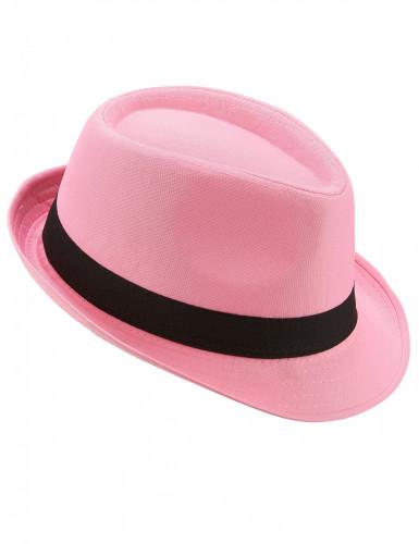 Pink borsalinohat med sort bånd