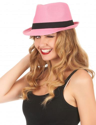Pink borsalinohat med sort bånd-1