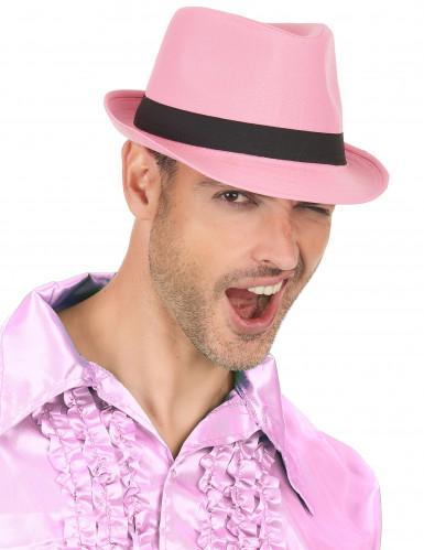 Pink borsalinohat med sort bånd-2