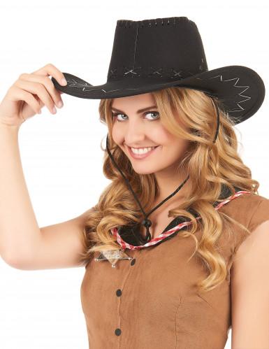 Sort cowboyhat med læderlook til voksne -1
