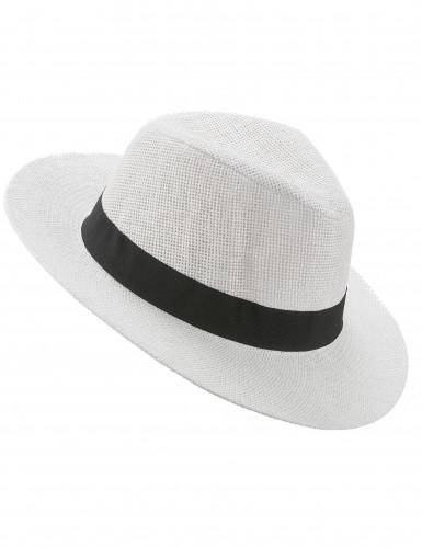 Hvid Panama hat med sort bånd