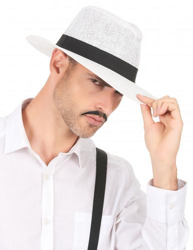 Hvid Panama hat med sort bånd-2