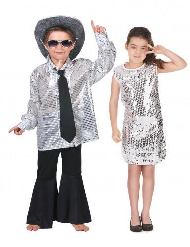 Parkostume disco sølv til børn