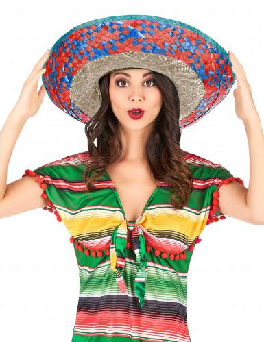 Mexicansk sombrero med rød og blå skygge mand-1