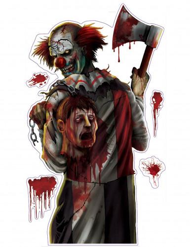 Stort klistermærke blodig klovn Halloween