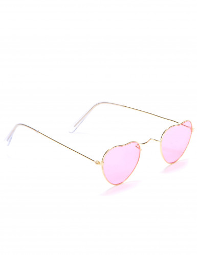 Lyserøde hjerteformede briller med metalstel til voksne