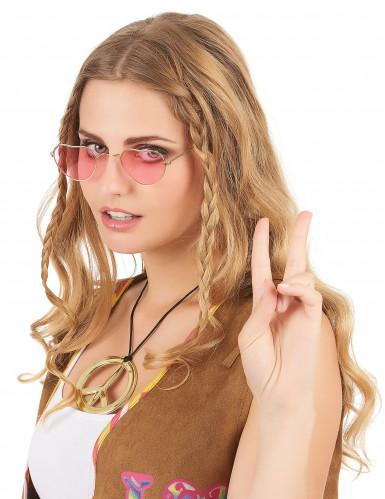 Lyserøde hjerteformede briller med metalstel til voksne-1