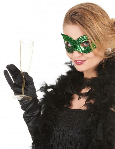 Grøn venetiansk øjenmaske med pailletter
