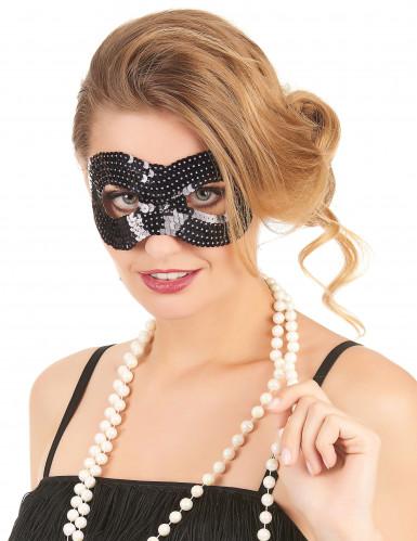Sort øjenmaske med pailletter til voksne