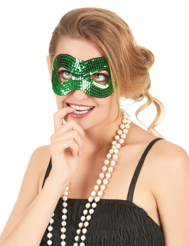 Grøn øjenmaske med pailletter til voksne