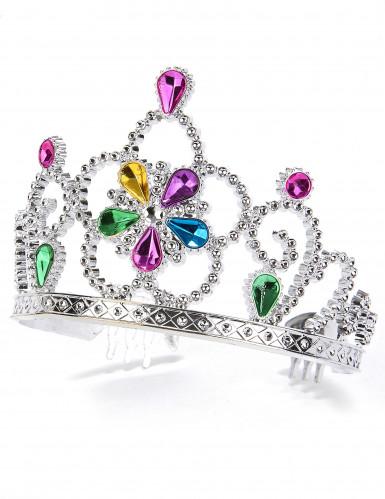 Diadem prinsesse med multifarvede ædelsten til børn og voksne