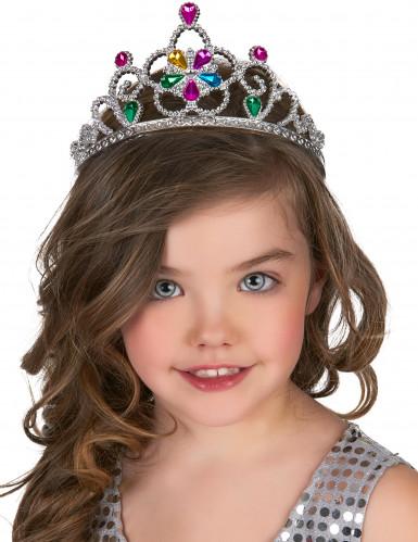 Diadem prinsesse med multifarvede ædelsten til børn og voksne-1