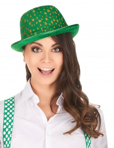 Grøn fløjlsagtig bowlerhat med guldfarvede firkløvere Skt. Patricks dag-1