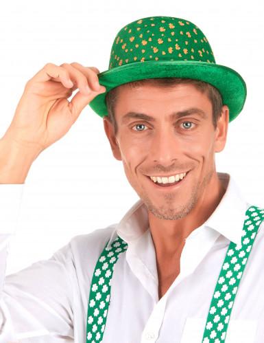 Grøn fløjlsagtig bowlerhat med guldfarvede firkløvere Skt. Patricks dag-2