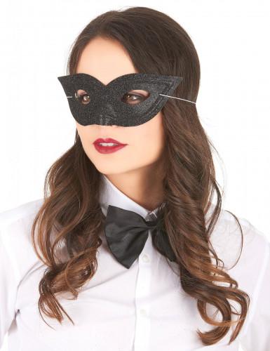 Maske venetiansk pailletter sort til voksne