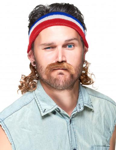 Pandebånd i rødt blåt og hvidt med 80'er frisure og moustache