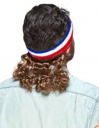 Pandebånd i rødt blåt og hvidt med 80'er frisure og moustache-1