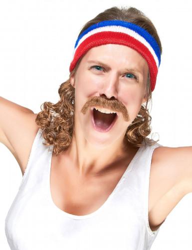 Pandebånd i rødt blåt og hvidt med 80'er frisure og moustache-2