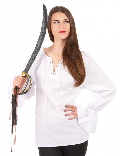 Langærmet hvid skjorte dame