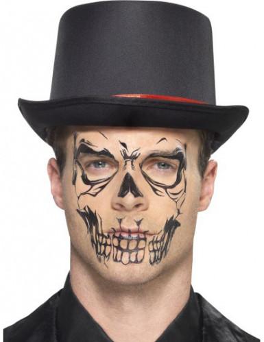 Sort skelet tatovering til voksne - Halloween