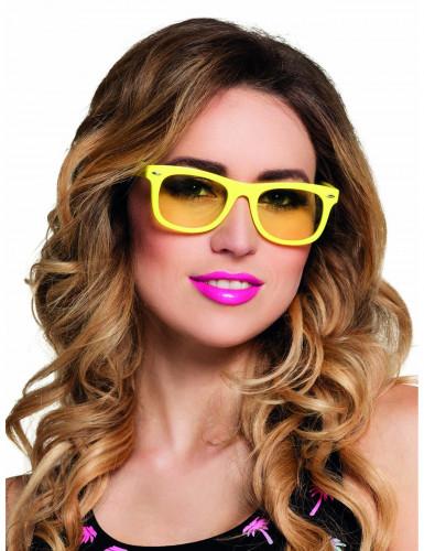 Briller neon gul 50' erne til voksne