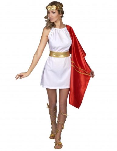 Kostume romersk kvinde rød og guld