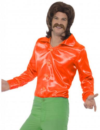 Neon orange satinagtig skjorte herre