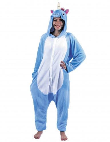 Kostume heldragt enhjørning blå til voksne