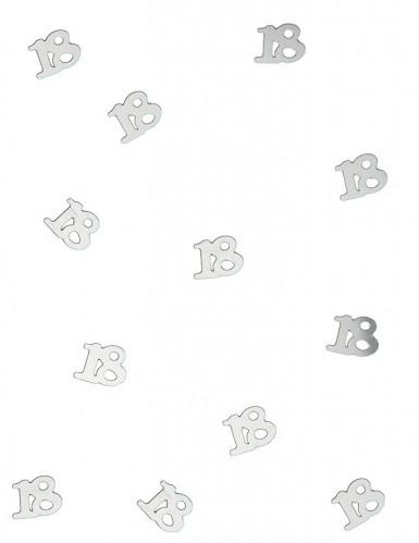 18 års sølvfarvet konfetti