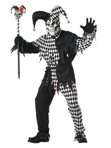 Kostume klovn Harlekin Halloween sort til mænd