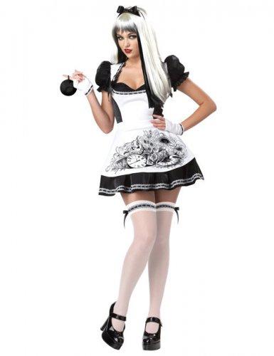Kostume sexet Alice sort og hvidt til kvinder Halloween