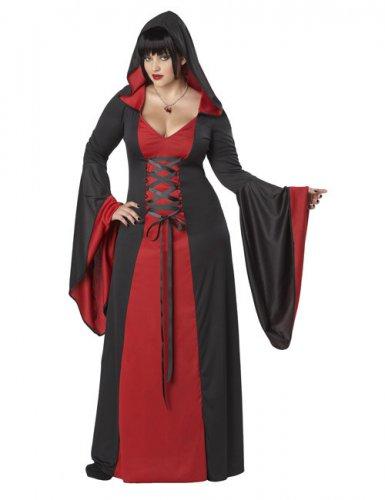 Kjole middelalder heks med hætte til kvinder store størrelser
