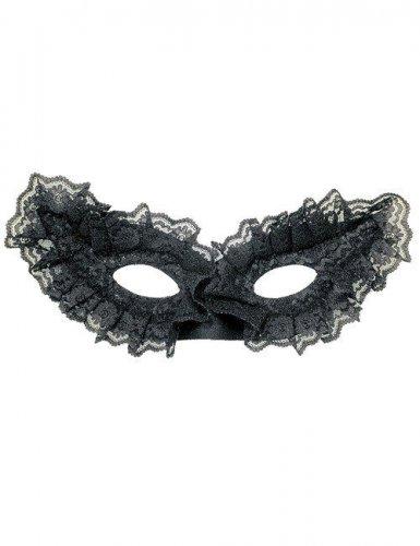Sort venetiansk maske med blonder