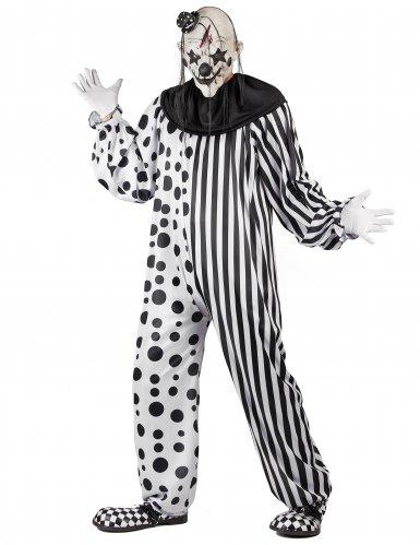 Kostume monster klovn sort og hvid til voksne-1