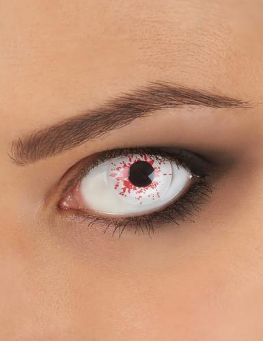Kontaktlinser med falske blodpletter til Halloween