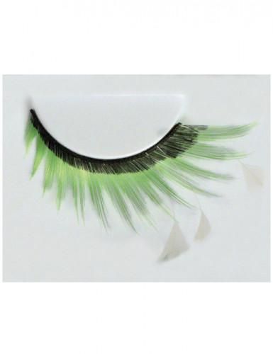 Falske øjenvipper med fjer sort-grøn-hvid