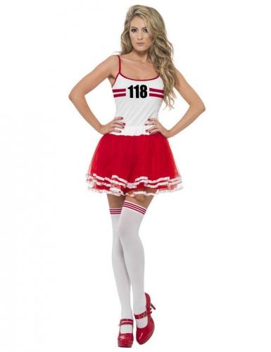 Miss Marathon kostume rød-hvidt kvinde
