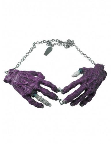 Gotisk halskæde med zombiehænder lilla