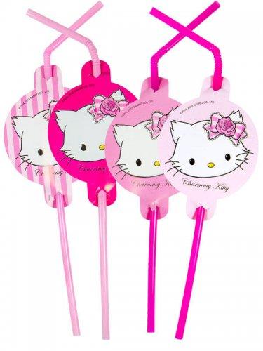8 sugerør med lyserøde katte 24 cm