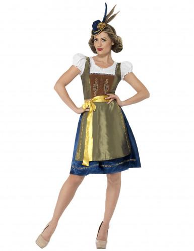 Kostume dirndl kjole grøn-brun-blå