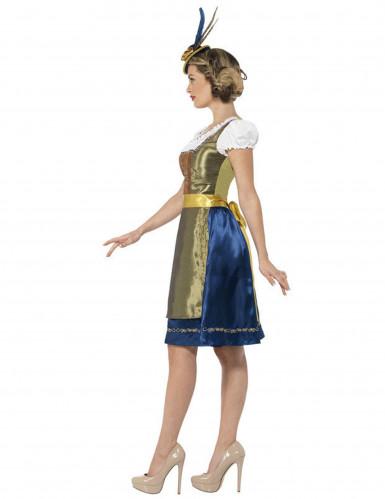 Kostume dirndl kjole grøn-brun-blå-1