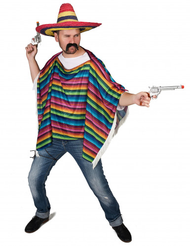 Poncho mexicansk multifarvet med frynser til voksne-1