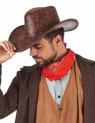 Cowboy hat i brunt imiteret læder til voksne-1