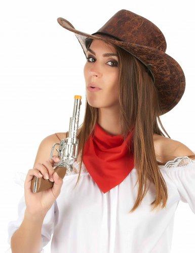 Cowboy hat i brunt imiteret læder til voksne-2