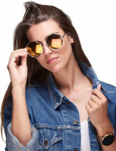 Solbriller retro metallisk guld til voksne-1