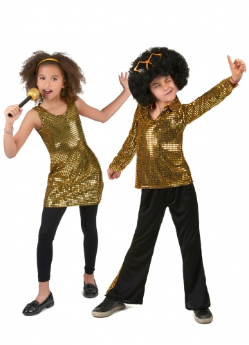 Par kostume disco gyldent til børn