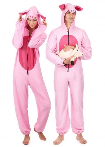Par kostume lyserøde grise til voksne