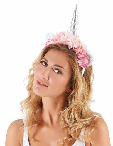 Enhjørninge hårbånd med lyserøde blomster til voksne-1