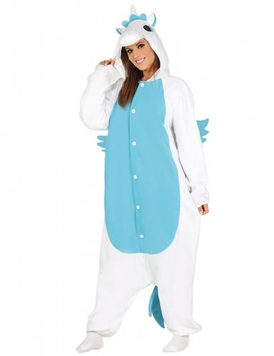 Kostume unicorn i hvid og blå til voksne