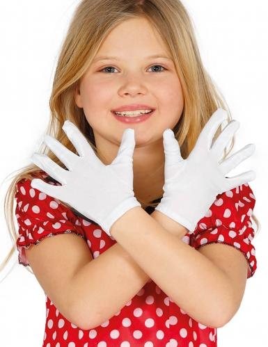 Handsker korte i hvide til børn